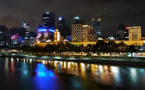 Beautiful night view of Melbourne Yarra River