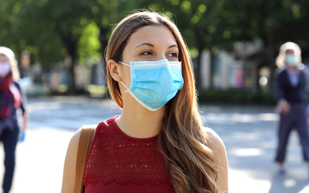 Woman in city street wearing surgical mask