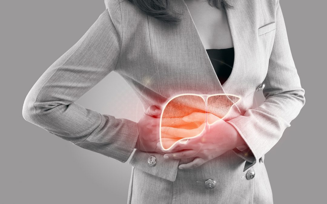 Illustration of liver on woman\'s body against gray background